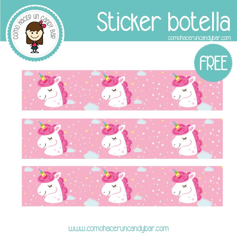 stickers de botella unicornio para imprimir gratis