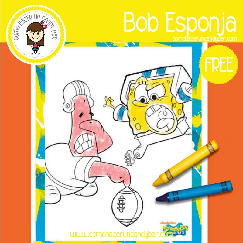 dibujo de colorear bob esponja para descargar gratis