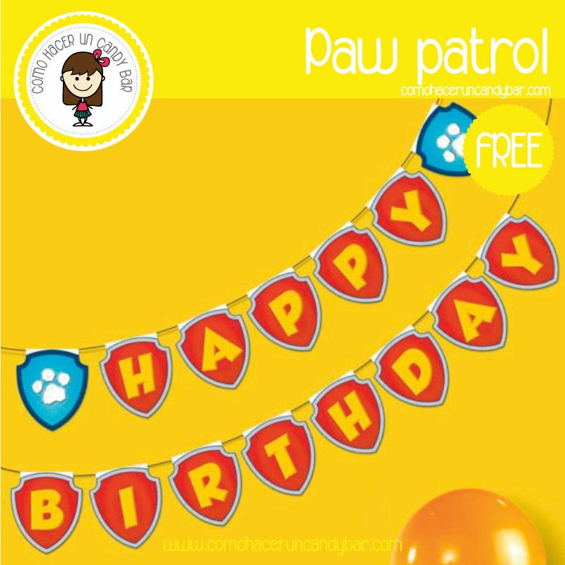 banderin paw patrol para descargar gratis