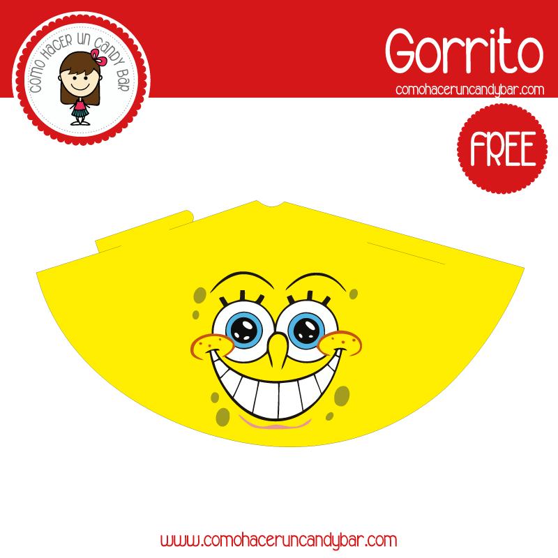 imprimible gorro bob esponja para descargar gratis