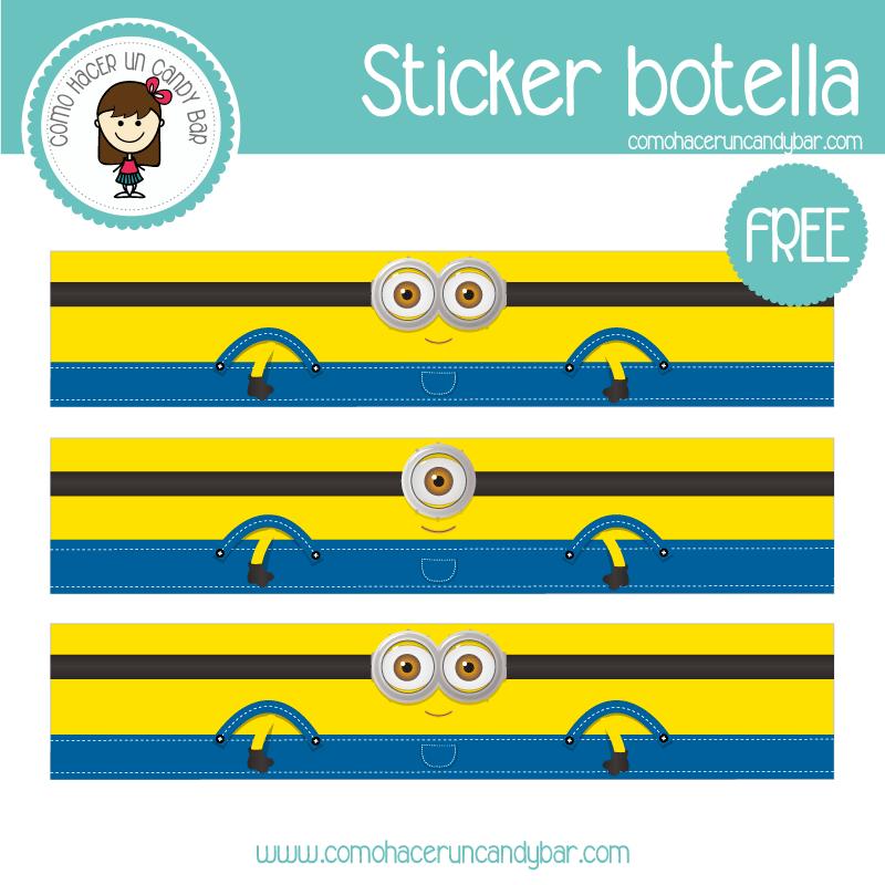stickers para botella minions gratis