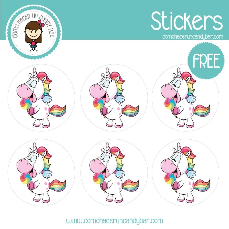 Stickers unicornio de colores para imprimir