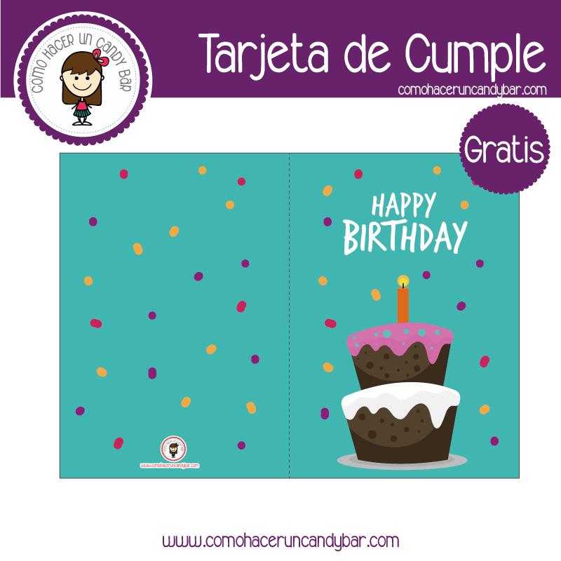 Tarjeta de cumpleaños pastel azul para descargar gratis