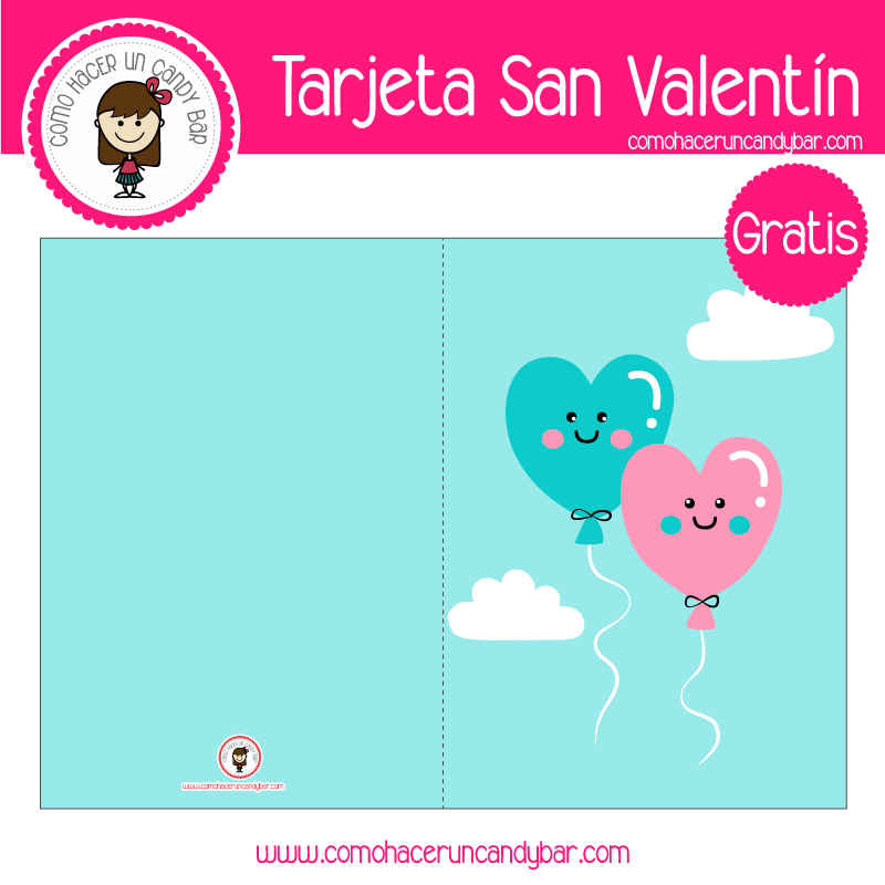 Tarjeta de san valentin globos para descargar gratis