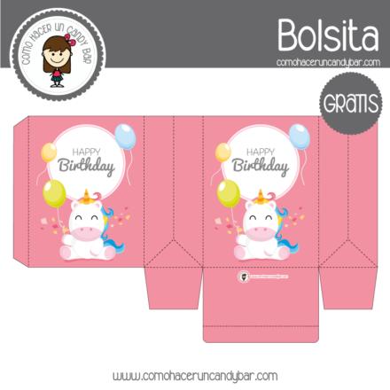 Cajita de cumpleaños unicornio para descargar gratis