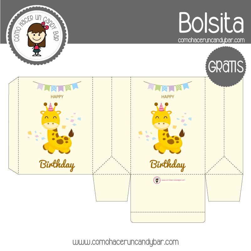 Cajita de cumpleaños jirafa para descargar gratis