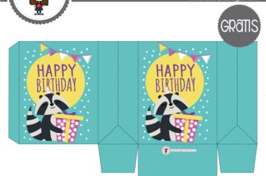 Cajita de cumpleaños mapache para descargar gratis