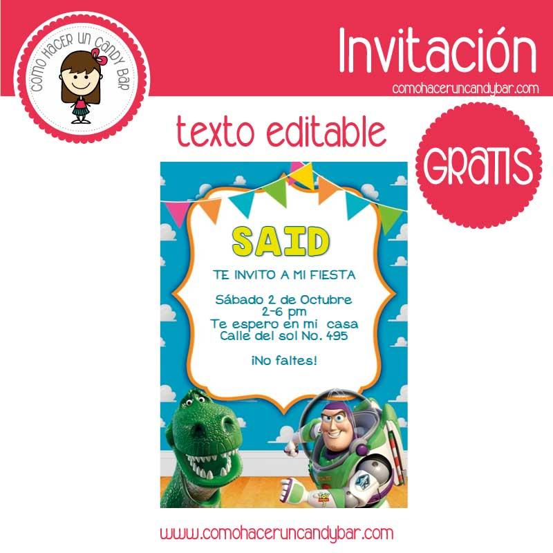 Invitación de Buzz toys story para descargar gratis