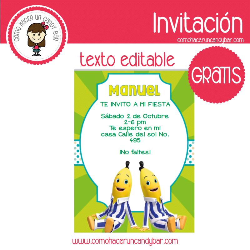 Invitación de Bananas en pijama para descargar gratis