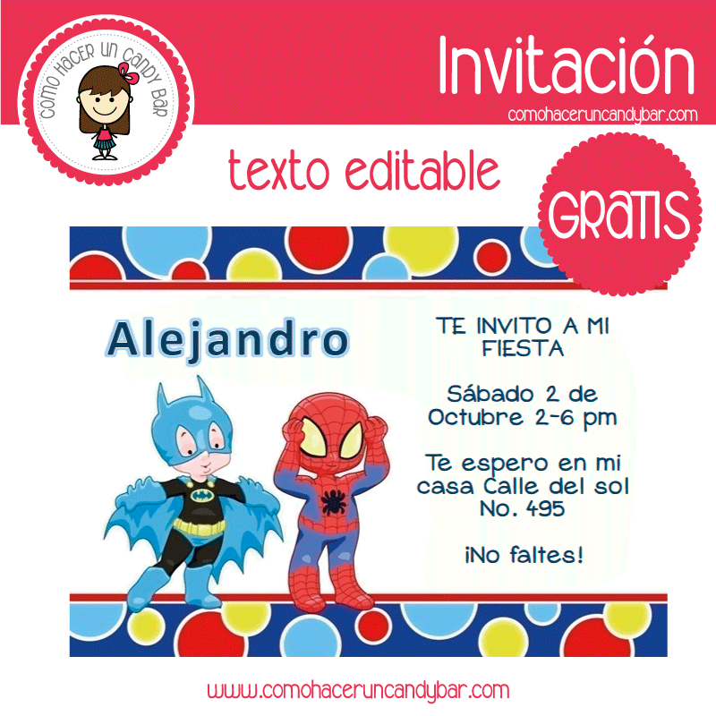 Invitación de batman y spiderman para descargar gratis