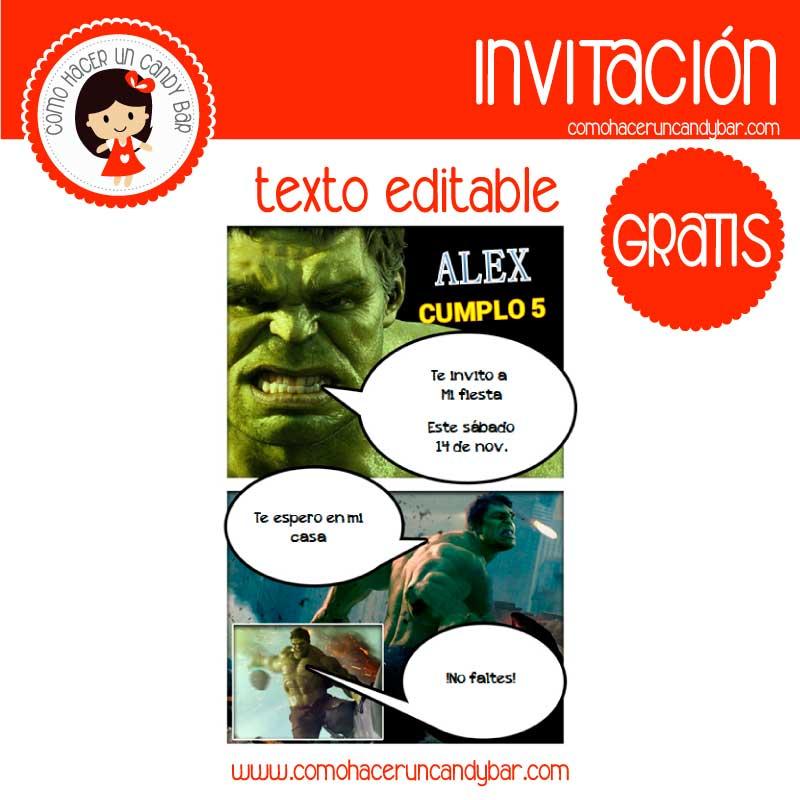 Invitación de hulk para descargar gratis