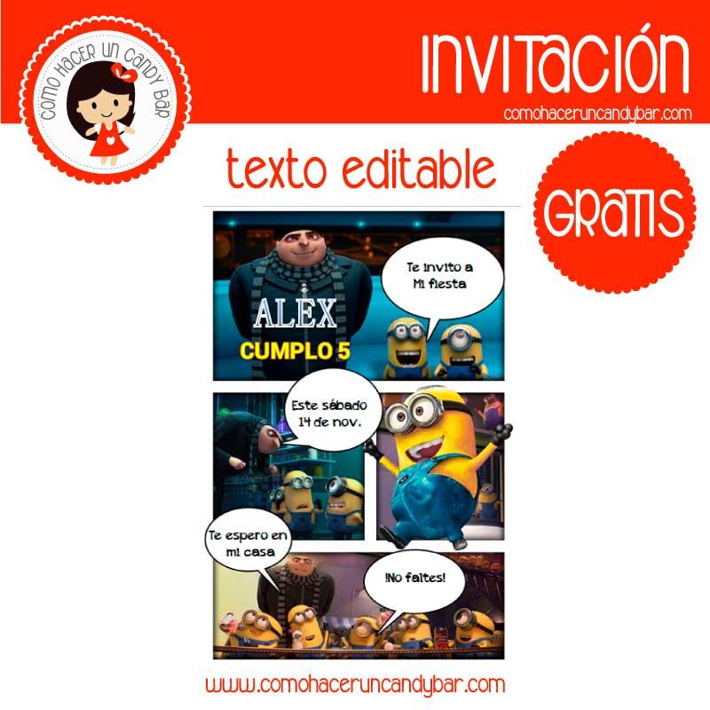 Invitacion de minions para descargar gratis