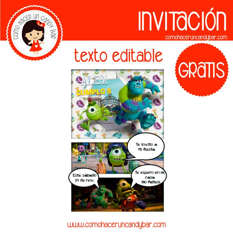 Invitación de monster Inc. para descargar gratis