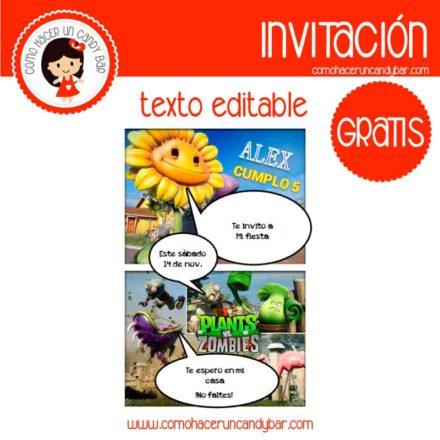 Invitación de Plantas Vs Zombies para descargar gratis