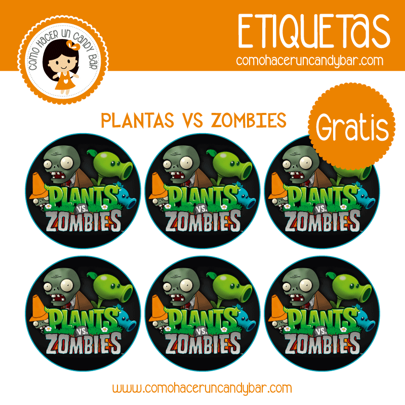 imprimibles gratis Etiquetas gratis de plantas vs Zombies