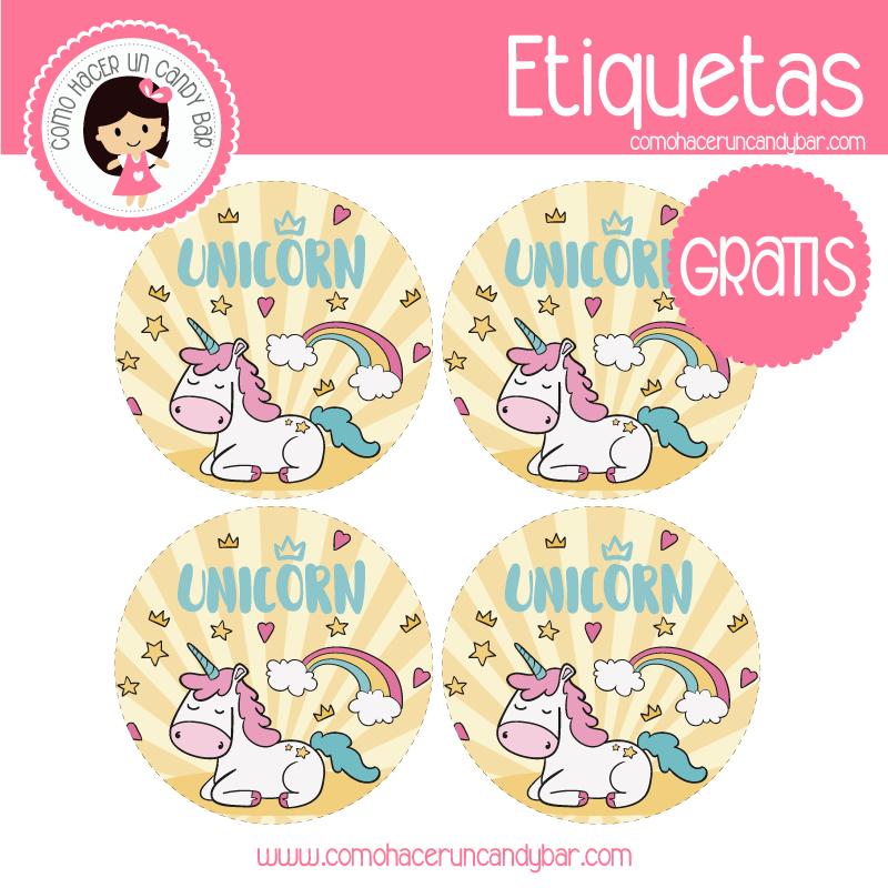 imprimibles gratis Etiquetas de unicornio descargables