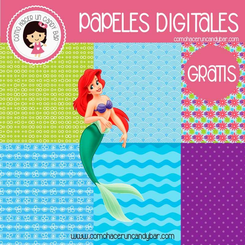 imprimibles gratis papeles digitales dela sirenita gratis