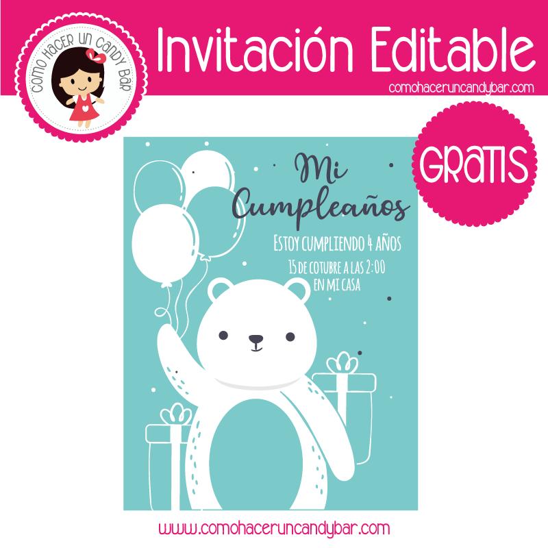 Invitacion editable gratis oso