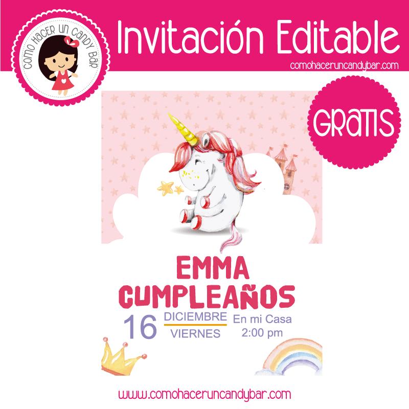 Invitacion editable gratis unicornio