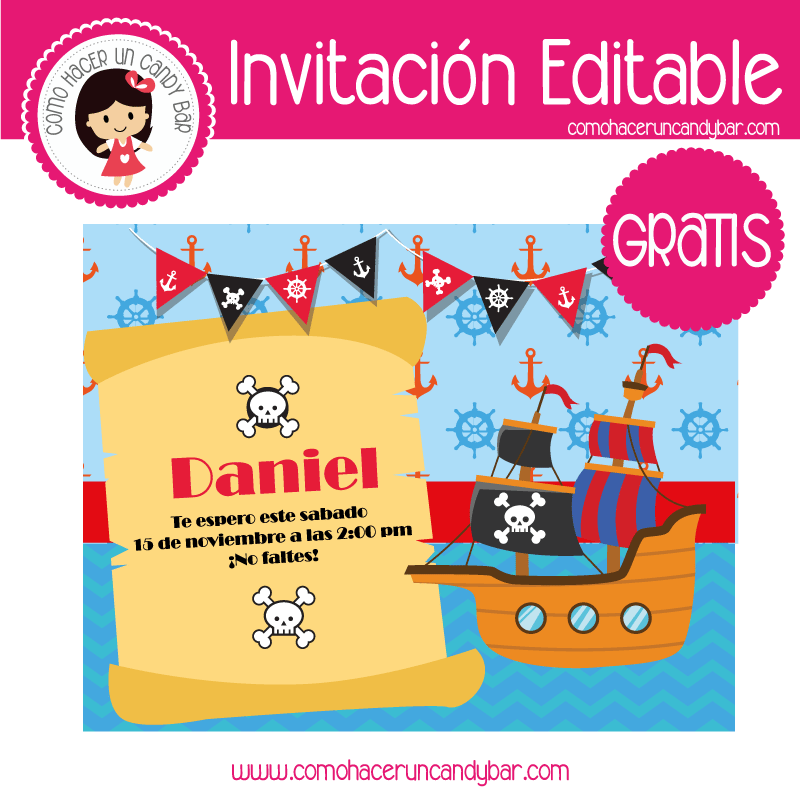 Invitacion editable gratis piratas