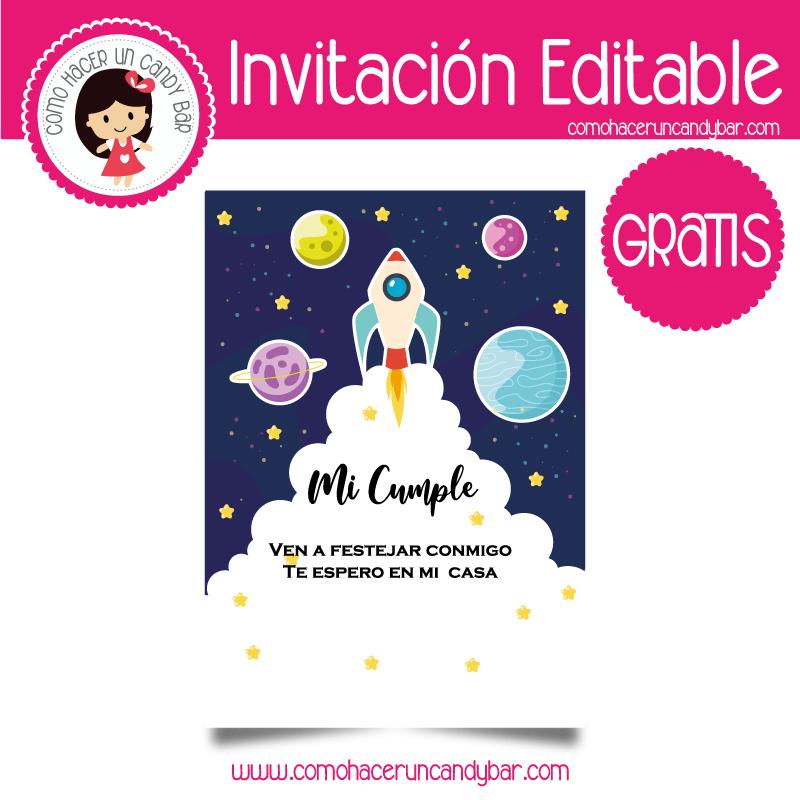 Invitacion editable gratis nave espacial